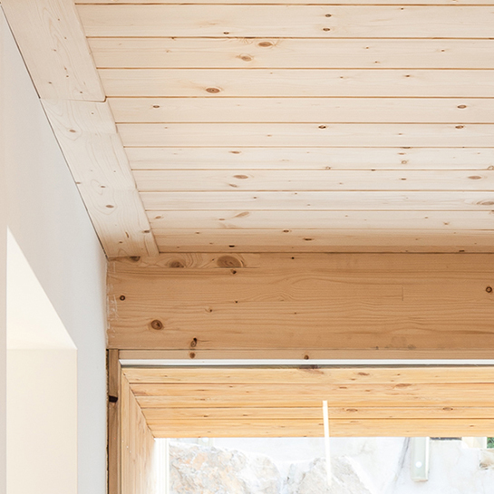 Natural wood ceiling